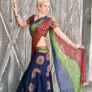 BOLLYWOOD BOHO 3 Piece Cotton Lehenga Choli Set